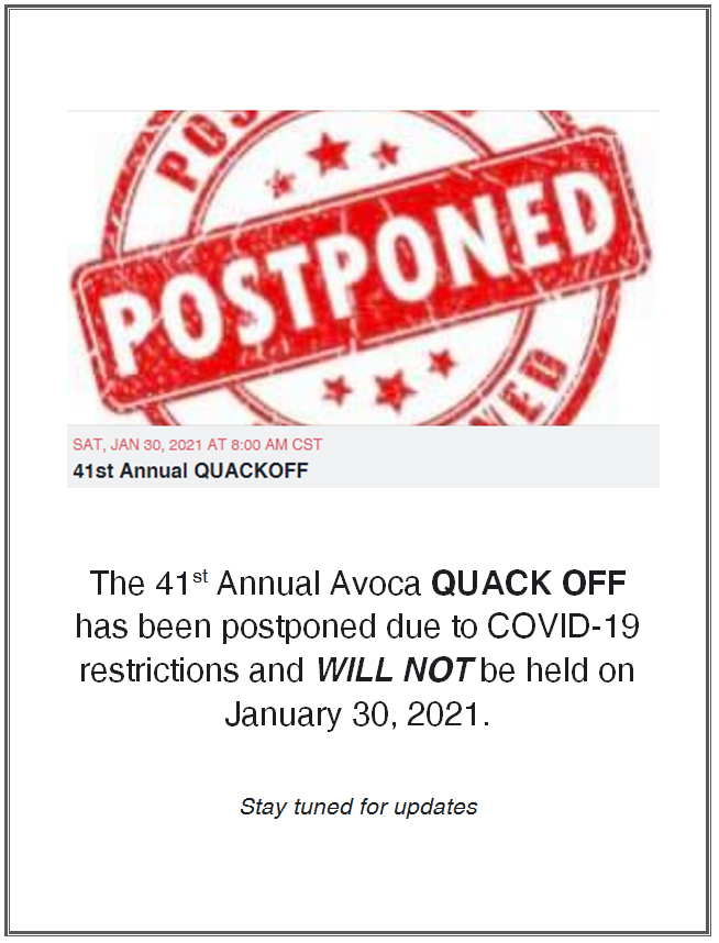 Avoca Quack Off Postponed