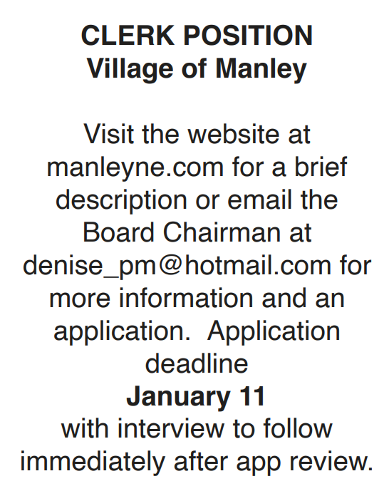 manley clerk position